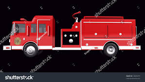 Royalty Free Stock Illustration Of Fire Truck Side View On Black ...