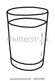 glass of water cartoon vector and illustration black and white hand drawn
