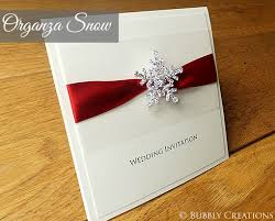 Winter Snowflake Wedding Invitation With Diamante And Organza Christmas In Scarlet Red