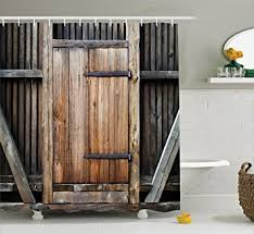 Barn Door Shower Curtain Rustic Decor By Ambesonne Antique Wooden Exterior Facades Rural