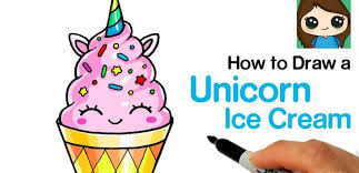 How To Draw A Unicorn Ice Cream Easy And Cute