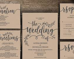 We Do Wedding Invitation Cards Suite Instant Download PDF Editable Template Kraft Rustic Calligraphy