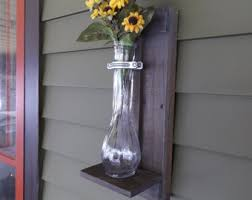 Rustic Wall Sconce Grey Wood Vase