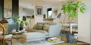view inside luxury cosy sofa in living room gemütliches sofa in wohnzimmer mit küche wall mural