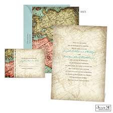 Vintage Map Wedding Invitation Destination Travel