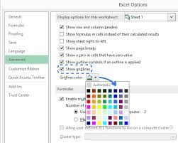 Open The Gridline Color Drop Down List To Pick You Want