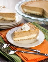 Pumpkin Layer Cheesecake by Layered Pumpkin Cheesecake Pie Garnish With Lemon