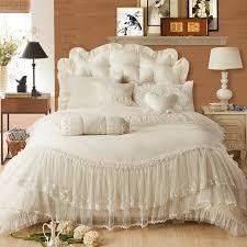 luxury Lace edge Princess cream colored wedding bedding set satin