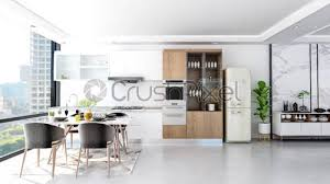 Modern White Kitchen Interior 3d Rendering Stockfoto Und Modern Contemporary Stylish Kitchen Room Interior 3d