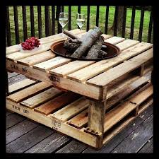 Upcycle Pallets Into Fire Pit Table Maybe Use Brick Or Tile To Help Prevent Any Stray Embers From Sparking The A Person Could Small Propane