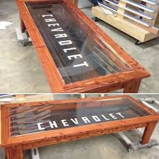 old chevrolet tailgate turned into a coffee table by godfrey u0027s
