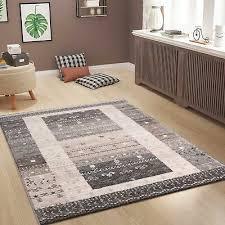 wohnzimmer teppich in klassisches design braun beige grau tier motiven