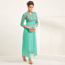Buy Aqua Green Georgette Kurti Latest Kurtis Online Shopping At