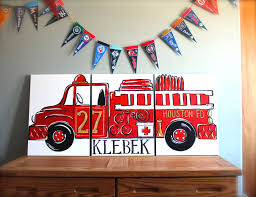 Triptych Red Vintage Fire Truck. 54