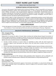 Humanitarian Affairs Resume Sample Template