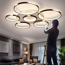 aunevn deckenleuchte modern runden 7 ring design dimmbar led deckenle groß luxus wohnzimmerle mit fernbedienung metall rahmen und acryl schirm
