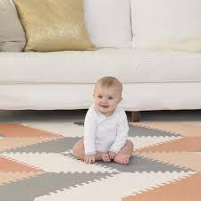 skip hop geo playspot foam floor tiles grey and peach toys r us