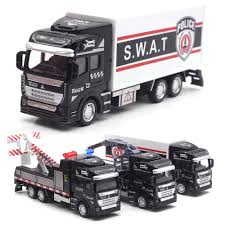 100 Police Truck Tab 148 SWAT Rescue Transport Vehicle Diecast Pullback