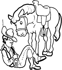 Click To See Printable Version Of Cowboy With His Horse Coloring Page