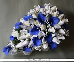 2 Pcs Royal Blue White Silver Cascading Bouquet Real Touch Flowers