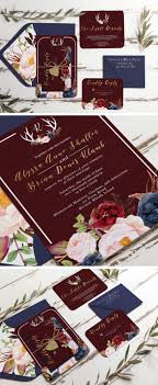 Marsala Burgundy Gold And Navy Rustic Wedding Invitation Unica