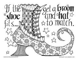 Halloween Coloring Page If The Shoe Fits Then Get A Broom And Hat To Match
