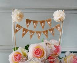 Wedding Cake Topper Rustic Burlap Bunting Cream JUST MARRIED