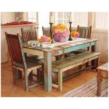 Induscraft 6 Pc Recycle Wooden Dining Table Set With Bench