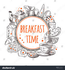 Breakfast Time Hand Drawn Vector Illustration With Food Elements Milk Cheese Omelette