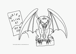 Halloween Gargoyle Coloring Page Free Printable Of A Scary Spooky Monster