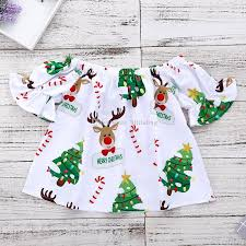 2018 Xmas Baby Girls Dress Children Christmas Tree Elk Deer Print Princess Dresses Boutique Fashion Kids Clothing C5074 From Hltrading 466