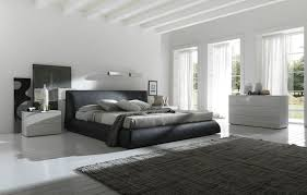 Bedroom Contemporary Leather Upholstered Bed Design Feat Unique Large Area Rug In Black And White