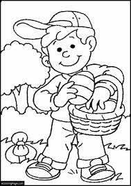Little Boy Easter Egg Hunting Coloring Page