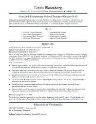 Teaching Resume Samples Elementary School Teacher Template Substitute Examples No Experience