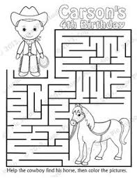 Personalized Printable Cowboy Horse Birthday Party Favor Childrens Kids Coloring Page Maze Book Activity PDF Or