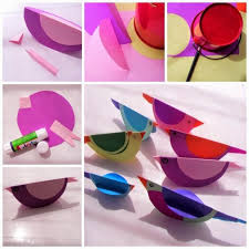 Making Color Birds In Paper Handicraft Ideas Craft For Kids Handicrafts Simple Bird From Chart