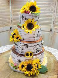 Birch Bark Wedding Cake With Sunflowers