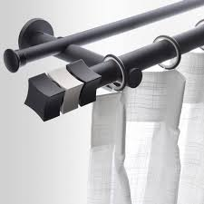 Black Aluminum Double straight Modern Curtain Rods