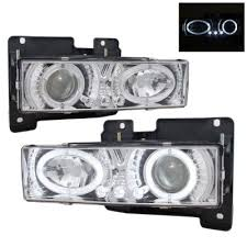 1990 chevy 2500 clear projector headlights with halo and