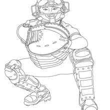 Baseball Team Catcher Coloring Page