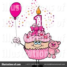 Royalty Free RF Birthday Cupcake Clipart Illustration by Dennis Holmes Designs