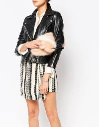 urbancode faux fur zip top clutch bag with wrist strap in pink lyst