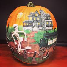 Pumpkin Contest Winners by Exciting Orange Sky With Skull Also Castle And Drawn Carriage