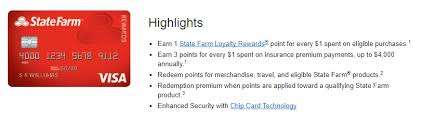 State Farm Rewards Visa Review 3x Points Insurance Products