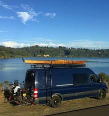 Mercedes Sprinter With Aluminess Roof Rack And Ladder Beautiful Spot By The River In Oregon Van ConversionConversion