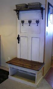 Old Door Hall Tree W Bench And Coat Hangers