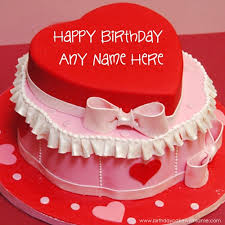Red Heart Birthday Party Cake With Lover Name