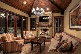 Rustic Living Room With Cathedral Ceiling Pella Architect Series Hinged Patio Door Traditional Grille