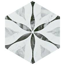Home Depot Merola Lantern Ceramic Tile by Merola Tile Classico Bardiglio Hexagon Flower 7 In X 8 In