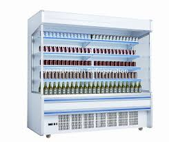 White Self Contained Open Display Fridge For Drinks Milk 2m Large Capacity